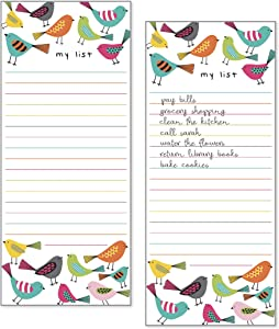 Set of 2- Bright Birds List Pad, Notepad, Shopping List with Attachable Magnet