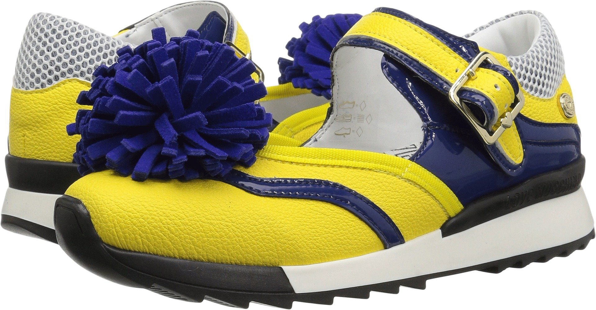 Love Moschino Women's JA15102G15ID140A Sneaker, Yellow/Blue, 38 M EU (7 US)