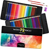 Magicfly Water Color Pencil Set, 72 Professional Colored Pencils Set Premier Soft Lead with 2 Brushes & Pencil Sharpener…