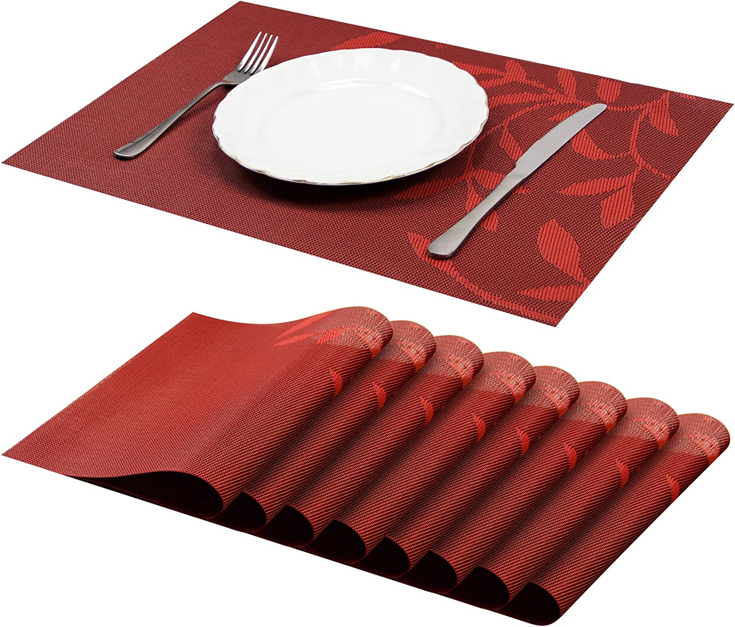 Jujin Placemats Set of 8 Non-Slip Washable PVC Heat Resistant Table Mats for Dining Table Brown