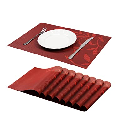 Jujin Placemats Set of 8 Non-Slip Washable PVC Heat Resistant Table Mats for Dining Table red