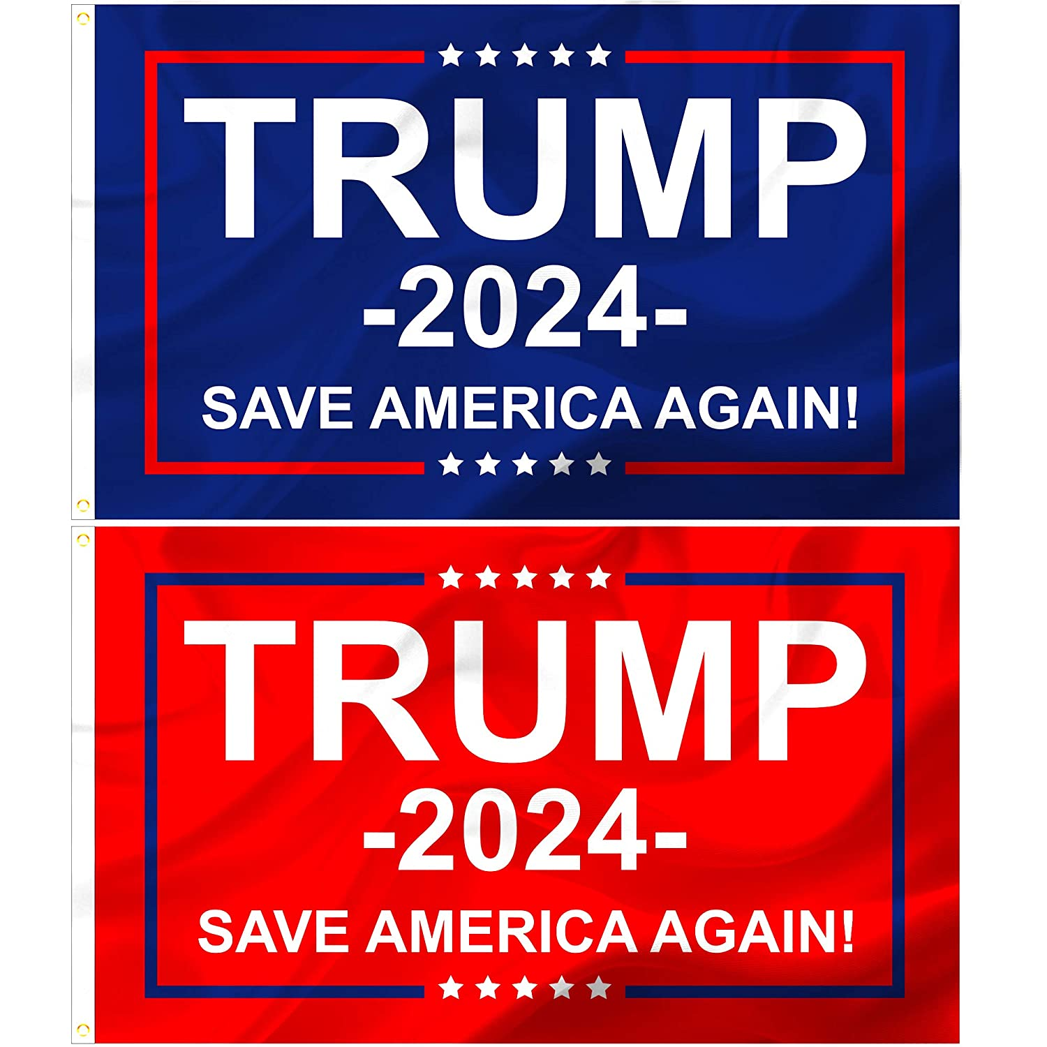 Lousard Donald Trump 2024 Flags 3x5, 2 Pc. Set, Save America Again and Re-Elect Former U.S. President, Weather Resistant for Outdoor, Garden, or Front Yard Display, MAGA