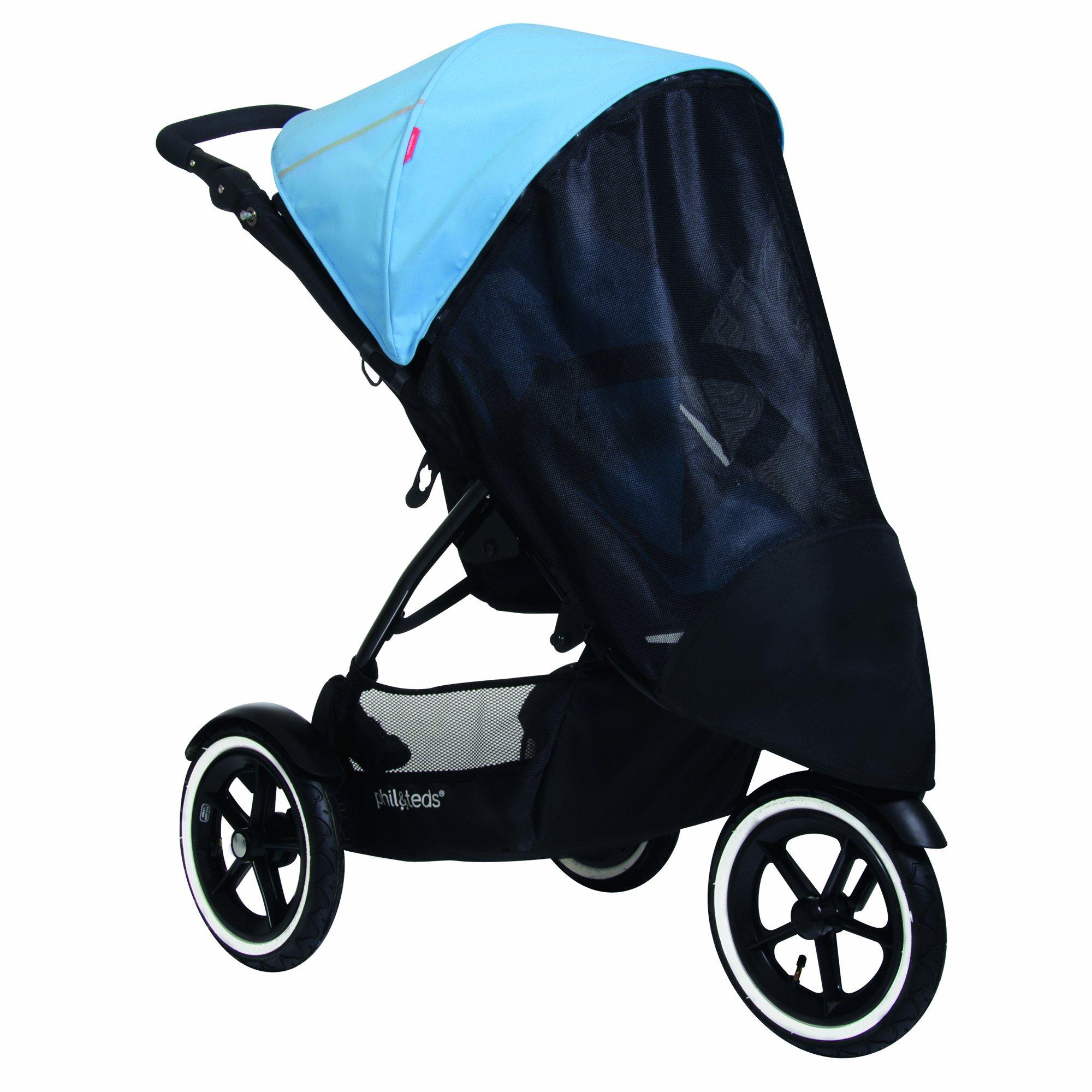phil&teds UV Sunny Days Mesh Cover for Single Navigator Stroller, Black by phil&teds