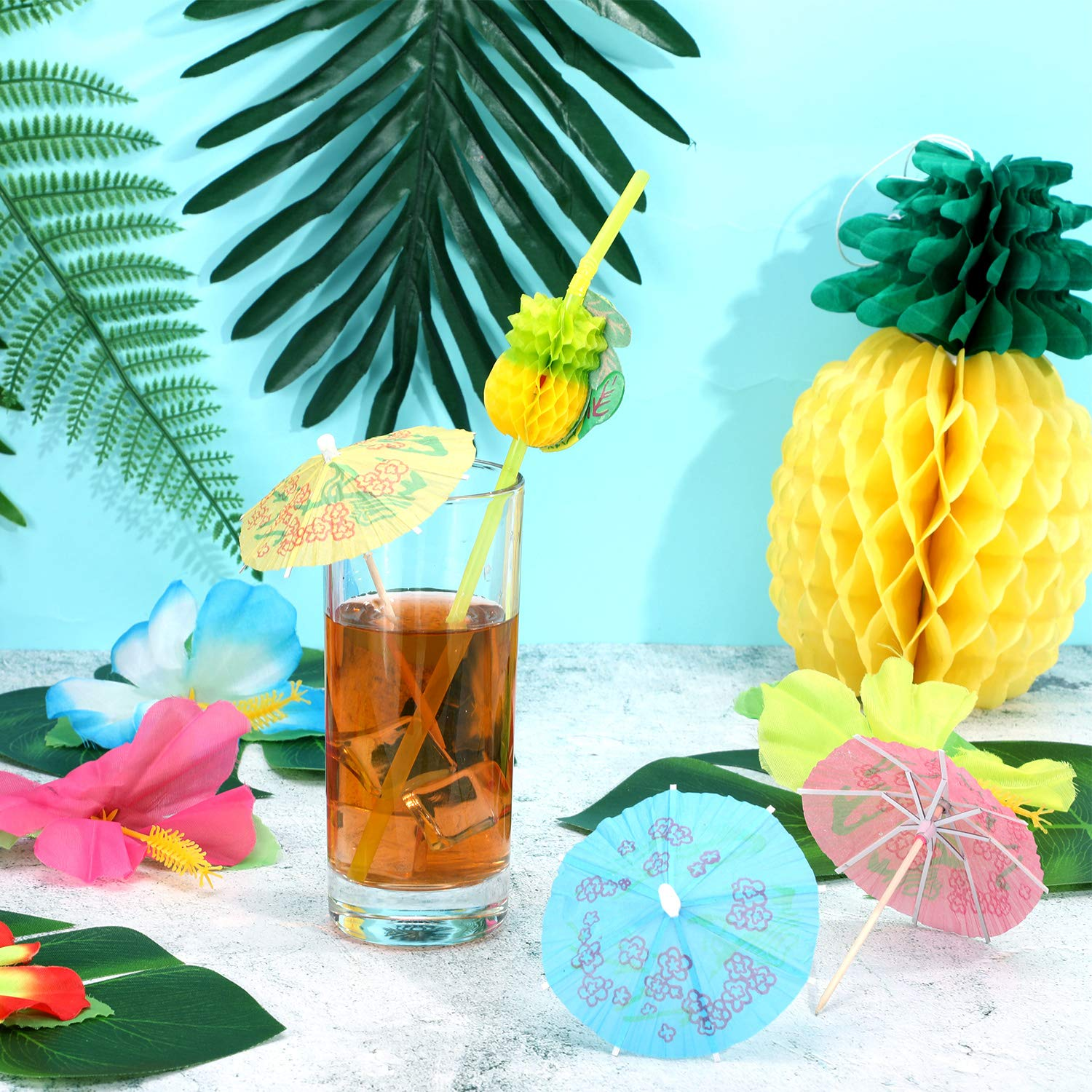 188 Pieces Hawaiian Luau Party Decorations,Include 30 Pieces Tropical Palm Leaves, 30 Pieces Hibiscus Flowers, 4 Pieces Paper Pineapples, 24 Pieces Cupcake Toppers, 50 Pieces 3D Fruit Straws, 50 Pieces Paper Umbrella by Zonon (Image #2)