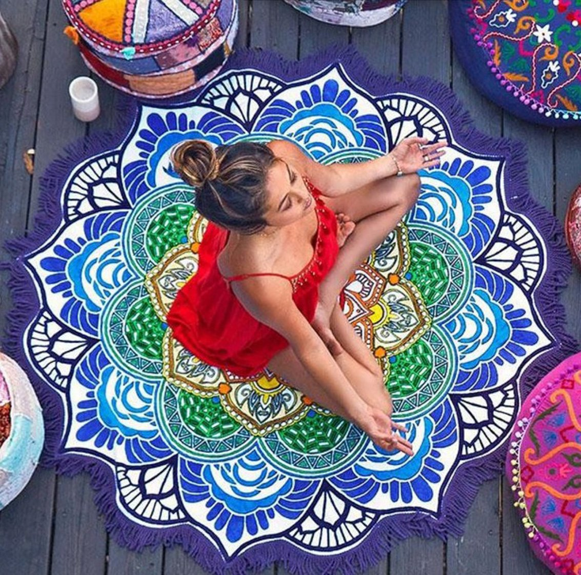 Round Roundie Indian Mandala Round Roundie Tapestry Fringe Tassel Beach Throw Hippy Boho Gypsy Tablecloth Beach Towel Round Blanket Table Cover Yoga Mat Picnic Mat-Blue&Purple Shukqueen