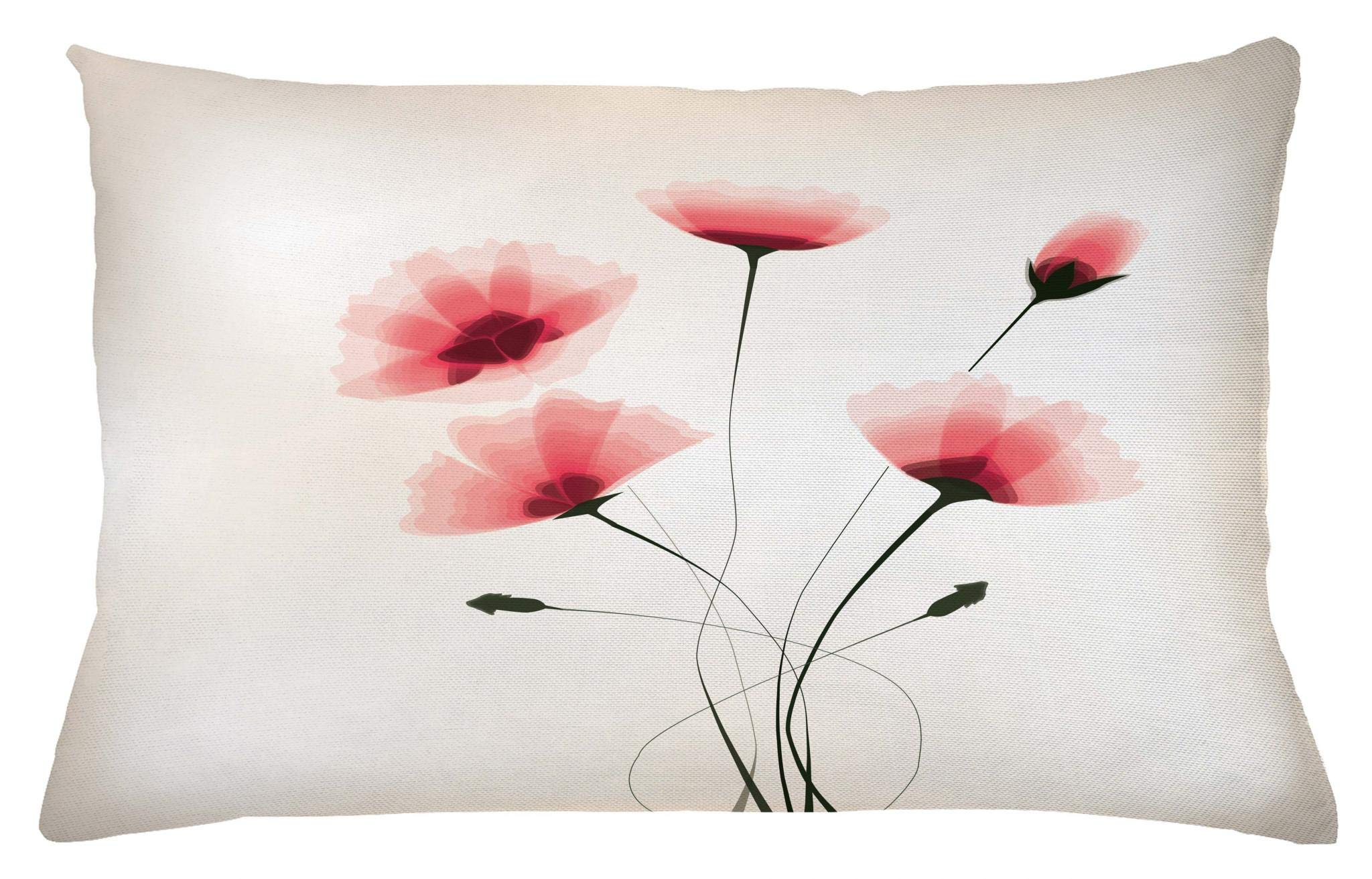 Ambesonne Abstract Throw Pillow Cushion Cover, Pure Romantic Cool Simple Natural Flower with Blossoms Artwork Print, Decorative Accent Pillow Case, 26 W X 16 L Inches, Pink Green and White