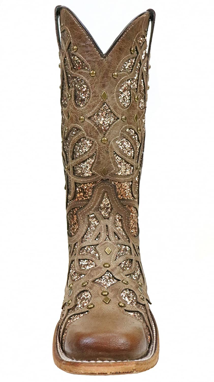Corral Womens Orix Glitter Inlay /& Studs Square Toe Boots
