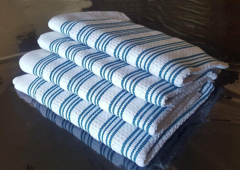 Strofinacci 100/% cotone morbido e assorbente cestino intrecciato e appeso hook qualit/à premium confezione da 4/ciascuno di dimensioni 72/x 50/cm e 120/grams blu su bianco colore lavabile design elegante non lascia pelucchi