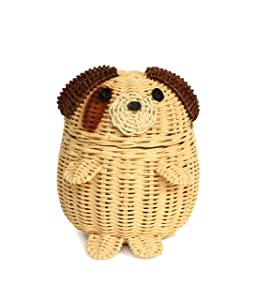 G6 COLLECTION Dog Rattan Storage Basket With Lid Decorative Home Decor Hand Woven Shelf Organizer Cute Handmade Handcrafted Nursery Gift Art Animal Decoration Artwork Wicker Puppy (Small)