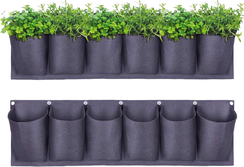 Yuccer Garden Planter Pockets Vertical Hanging Planter Multi Pocket Wall Mount for Outdoor Indoor Vegetables Flowers Yard Home Decoration
