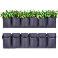 Wisolt Nueva Maceta de jardín Horizontal de 6 Bolsillos colgada más Profunda y más Grande para jardín de jardín…