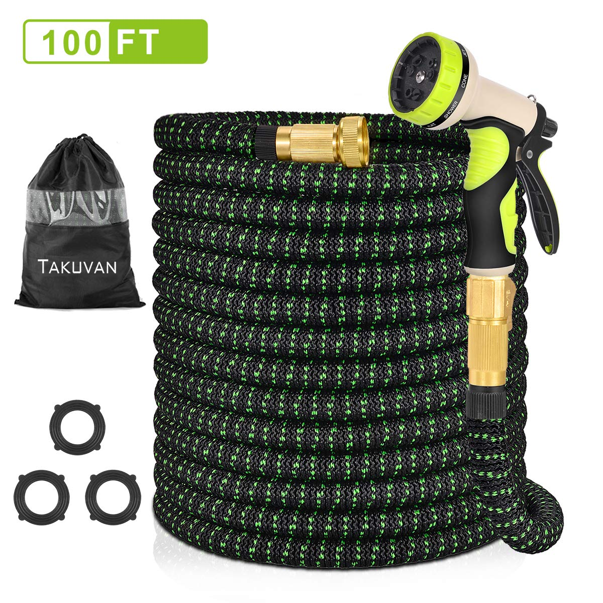 "Takuvan 100ft Expandable Garden Hose, 100 Feet Upgraded Water Hose, Durable Flexible Hose with 9 Spray Patterns Hose Nozzle, 3/4"" Solid Brass Connectors, Leakproof Lightweight Expanding Hose"