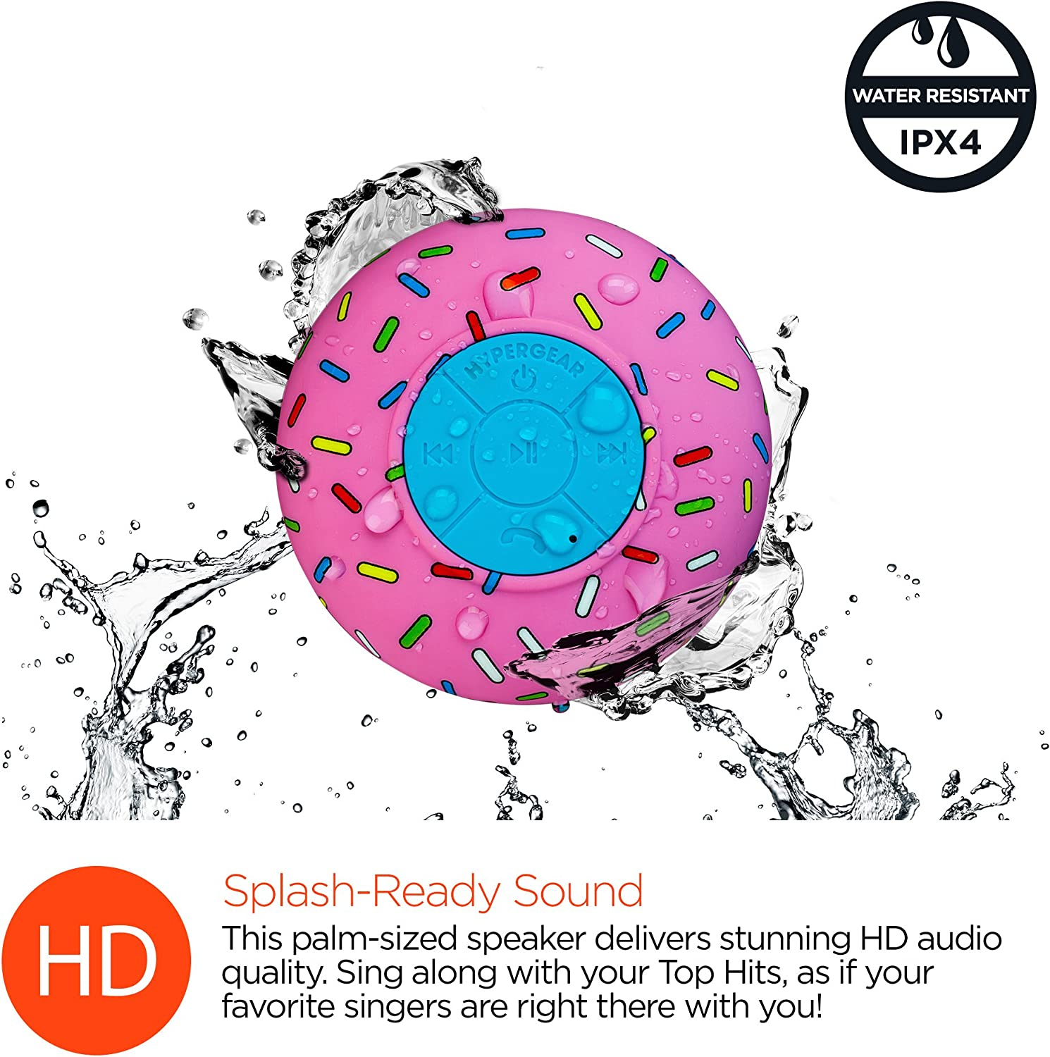 Hands-free Speakerphone With Built-in Microphone For Calls//Playlist /& Volume Control HyperGear H2O Water Resistant Wireless Indoor//Outdoor HD Shower Speaker 3.0 Bluetooth Technology 6hrs Playtime
