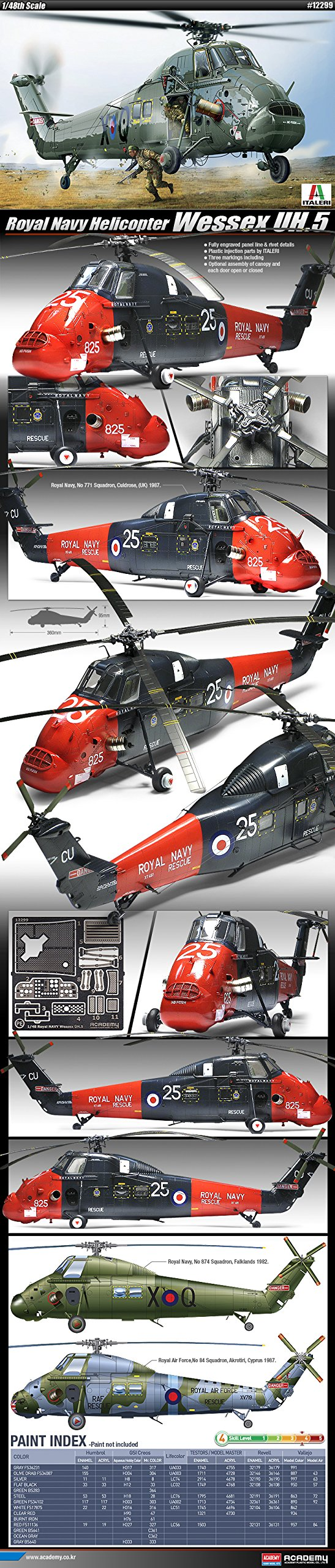 ACADEMY Plastic Model Kit 1/48 Royal Navy Helicopter Wessex UH-5 (#12299)