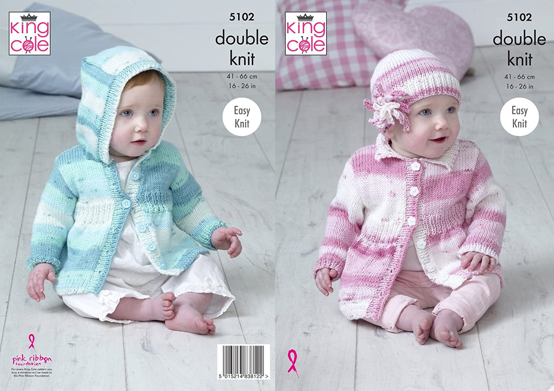 King Cole 5102 patrón para tejer bebé con capucha y cuello abrigos y ...