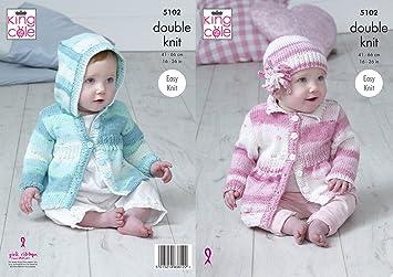 King Cole 5102 patrón para tejer bebé con capucha y cuello abrigos y gorro en Cottonsoft bebé Crush DK: Amazon.es: Hogar