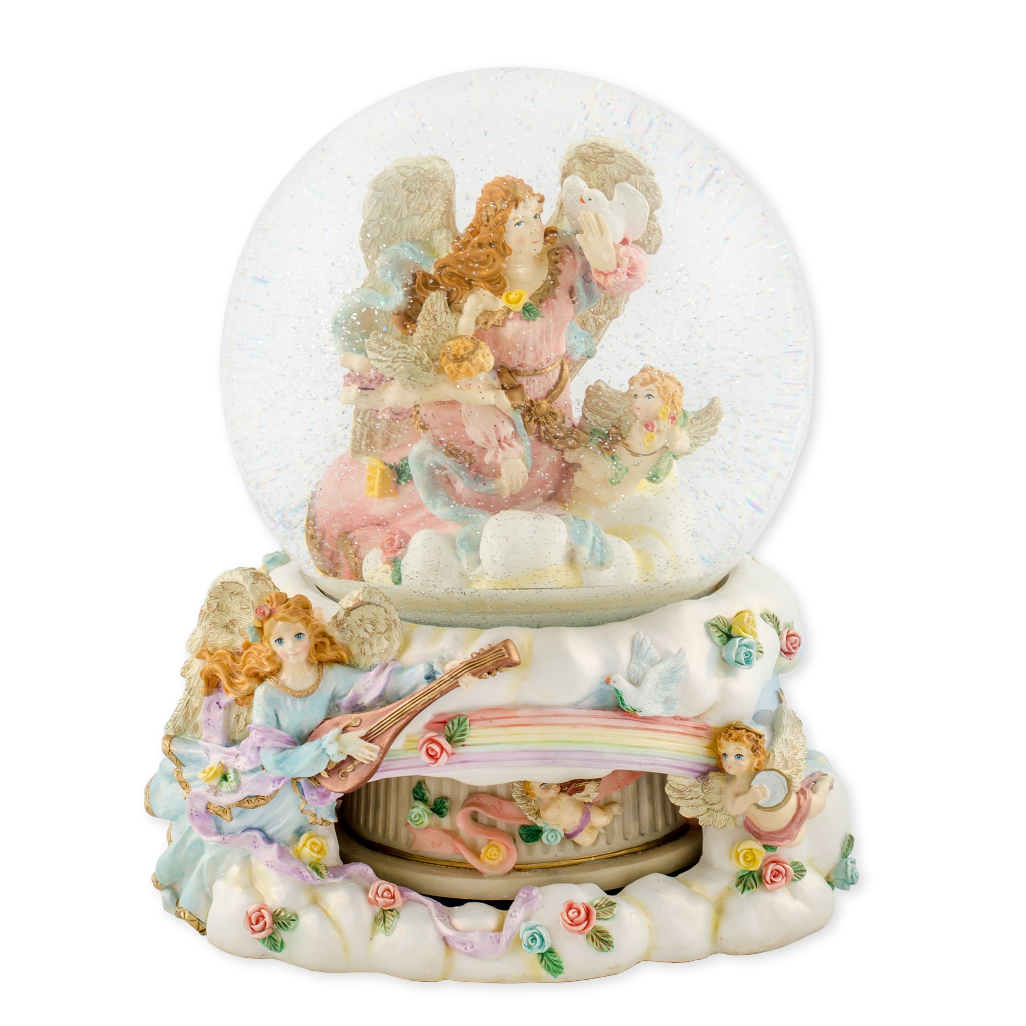 Angels and Cherubs 150mm Resin Rotating Water Globe Plays Tune Wind Beneath My Wings