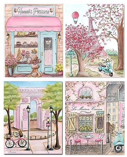 Amazon.com: Pink Paris Themed Bedroom Decor For Girls Room, Set Of 4 ...