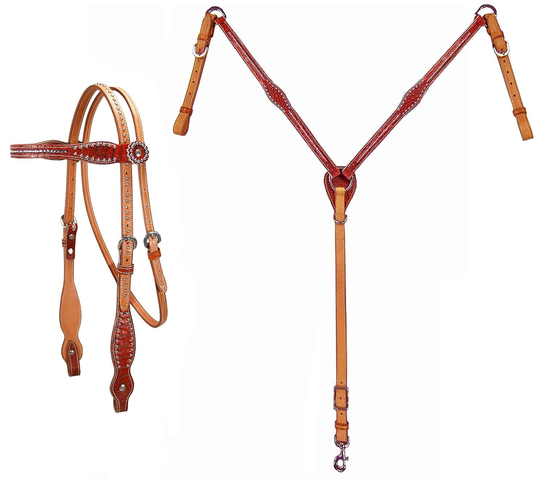 TahoeタックピンクスワロフスキークリスタルInlayed Headstall and Breast襟セット フル オレンジ(Burnt orange) B01ITV6DPW