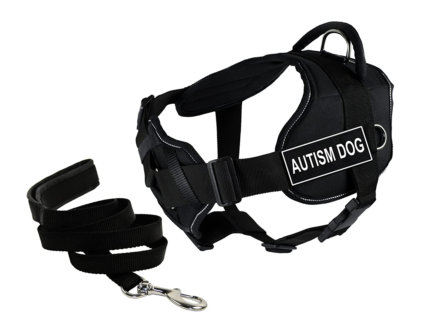 Dean & Tyler Bundle of 22 to 27-Inch DT Fun Harness with Chest Support and 6-Feet Stainless Snap Padded Puppy Leash, Autism Dog, Black with Reflective Trim