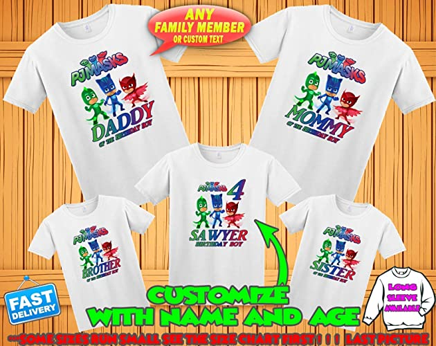 Amazon PJ Masks Birthday Shirt Custom Personalized Pj Family Shirts T For Girls And