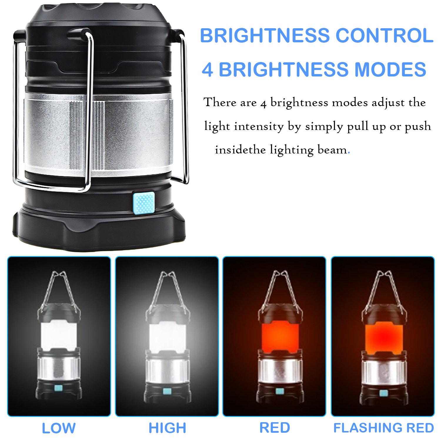 Alcoon Rechargeable LED Camping Lantern Light Lamp with 5600mAh Power Bank, Portable Collapsible Waterproof Outdoor Light with 18650 Li-ion Batteries for Camping Traveling Tent, Emergency, Outage by Alcoon (Image #5)