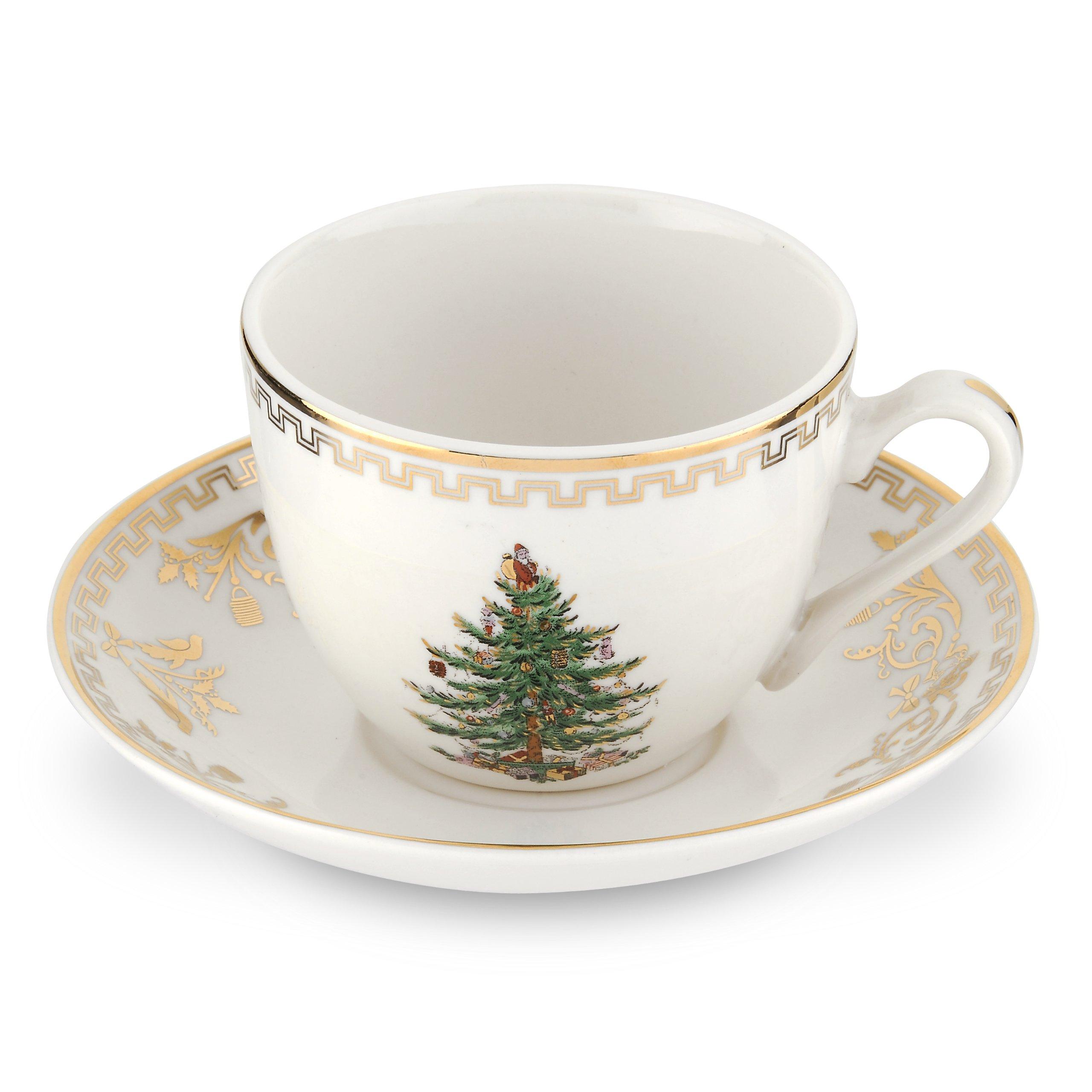 Spode Christmas Tree Gold Teacup and Saucer, Set of 4
