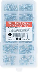 Adamax APS-9 6/32-Inch Slotted Wall Plate Screws,Assorted