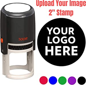 "2"" Logo Stamp - Custom Stamp - Personalized Business Stamp Self-Inking Black Red Blue Black Ink - Custom Round Text Business Stamp Large 2 Inch Stamper"
