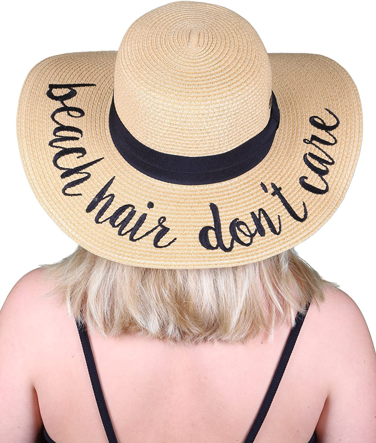 Funky Junque Women's Bold Cursive Embroidered Adjustable Beach Floppy Sun Hat