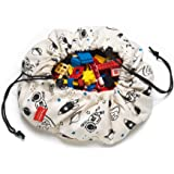 Mini Play Mat and Toy Storage Bag - Durable Floor Activity Organizer Mat - Drawstring Portable Container for Kids Toys, Books