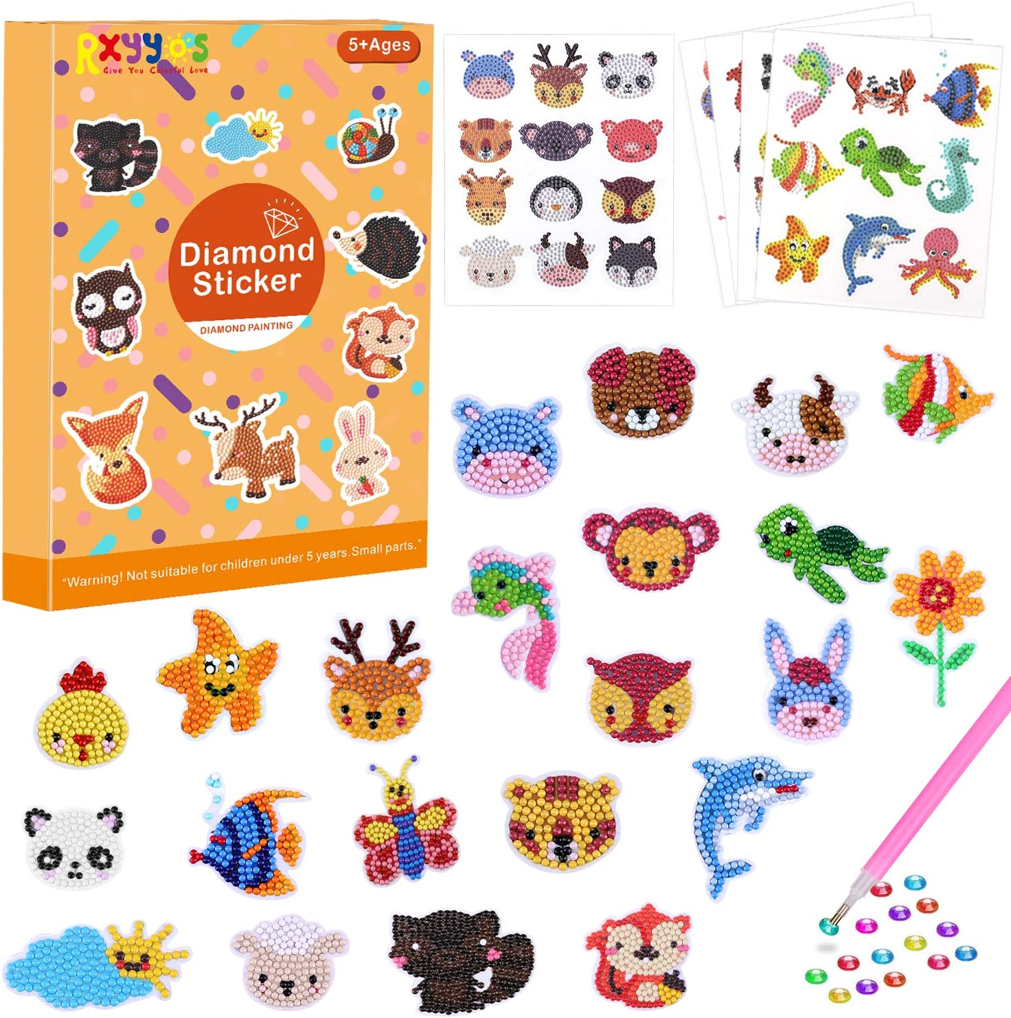 Junboys 49Pcs Diamond Painting Stickers Kits for Kids DIY Animal Diamond Art Craft Mosaic Stickers Handmade Digital Diamond Paint for Children Adult Beginners