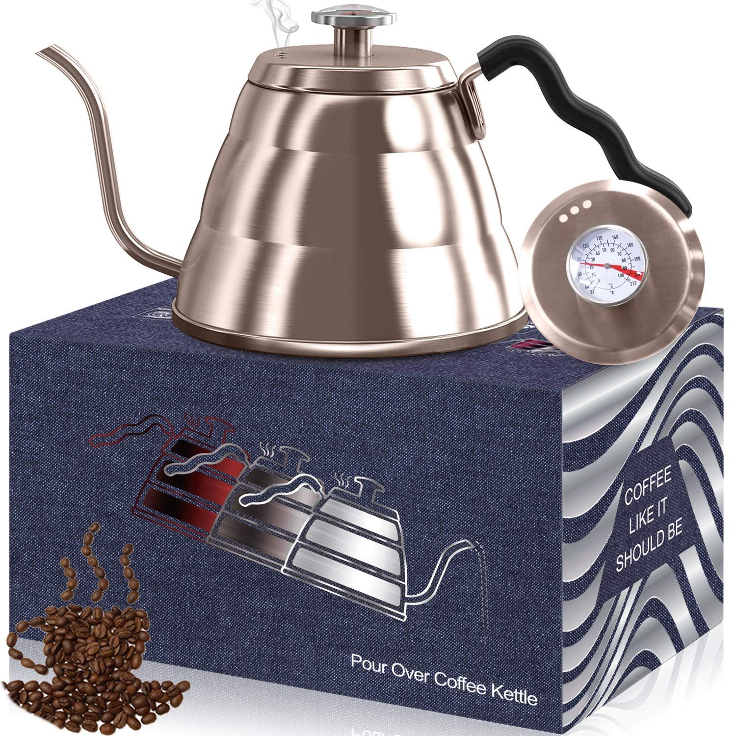 Dealz Frenzy Gooseneck Kettle - Pour Over Coffee Kettle with Exact Thermometer, Stovetop Tea Pot - Triple Layer 18/8 Stainless Steel Drip Kettle, Induction Stove and Fire Safe, FDA (34floz, champagne)