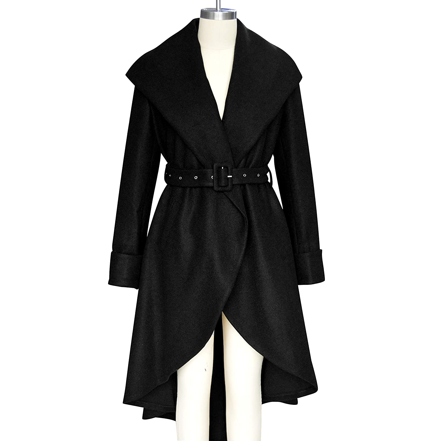 SAUKOLE Womens Winter Wool Trench Coat Wrap Large Collar High Low Jacket Outwear with Belt