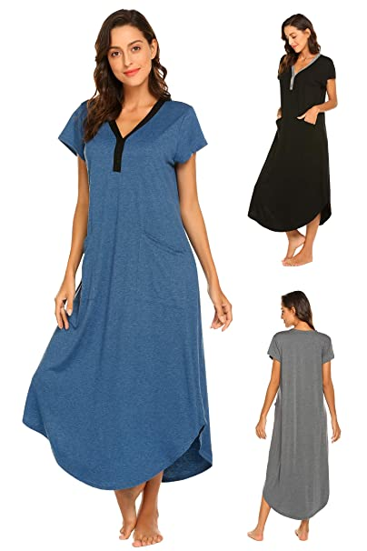uk availability 96c24 99c2d Damen Nachthemd Bodenlang Kurzarm Umstandskleid Knielang Nachtwäsche  Nachtkleid mit V-Ausschnitt Knopfleiste, 2 Taschen aus Baumwolle für Sommer  ...