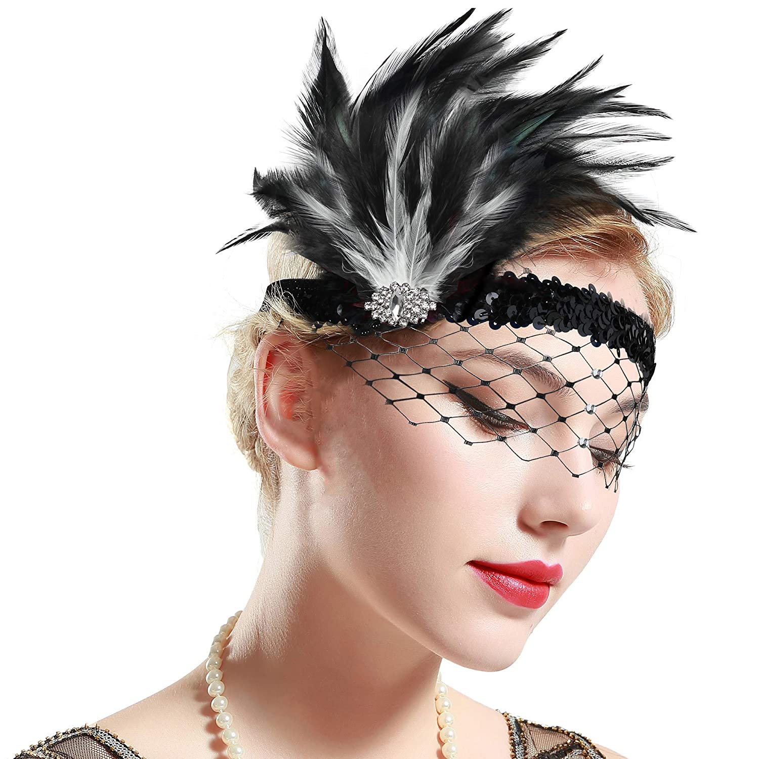 1920s Flapper Headband, Gatsby Headpiece, Wigs BABEYOND 1920s Flapper Headband Roaring 20s Feather Headpiece Crystal Great Gatsby Headband with Net 1920s Flapper Accessories (Black & White) $15.99 AT vintagedancer.com