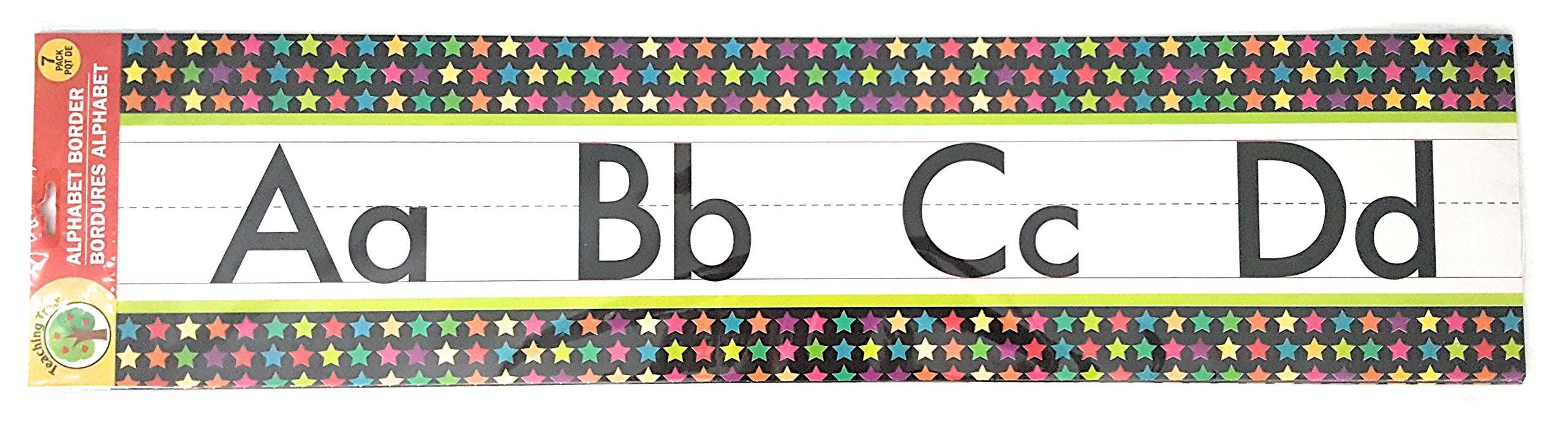 Teaching Tree Manuscript Alphabet Bulletin Back to School Board Set Creative Strips School Office Resources Scholastic Teacher Teacher's Bulletin Trim Wall Border Decal Classroom Decoration Stars 1