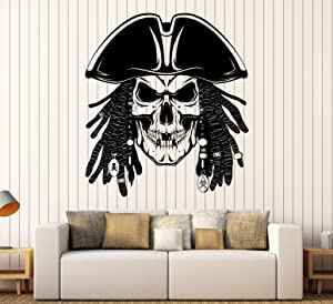 Vinyl Wall Decal Pirates Dead Skull Dreadlocks Stickers Large Decor (ig4009) Matte Black