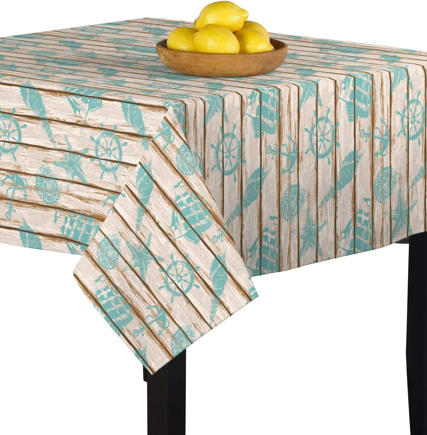 Amazon Com Fabric Textile Products Stenciled Nautical Art Tablecloth 54 X54 Home Kitchen