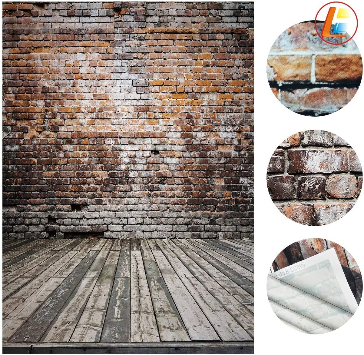 LB Red Brick Wall Background for Photography 10x10ft Vinyl Wood Floor Photography Backdrop for Wedding Smash Cake Birthday Party Portraits Photo Booth Backdrop