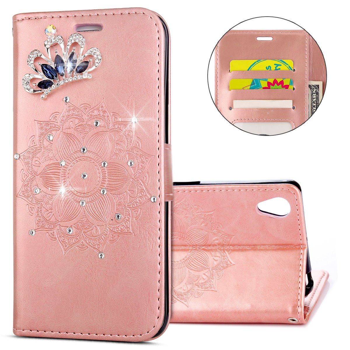 IKASEFU Sony Xperia X Case,Clear Crown Rhinestone Diamond Bling Glitter Wallet with Card Holder Emboss Mandala Floral Pu Leather Magnetic Flip Case Protective Cover for Sony Xperia X,Rosa Gold