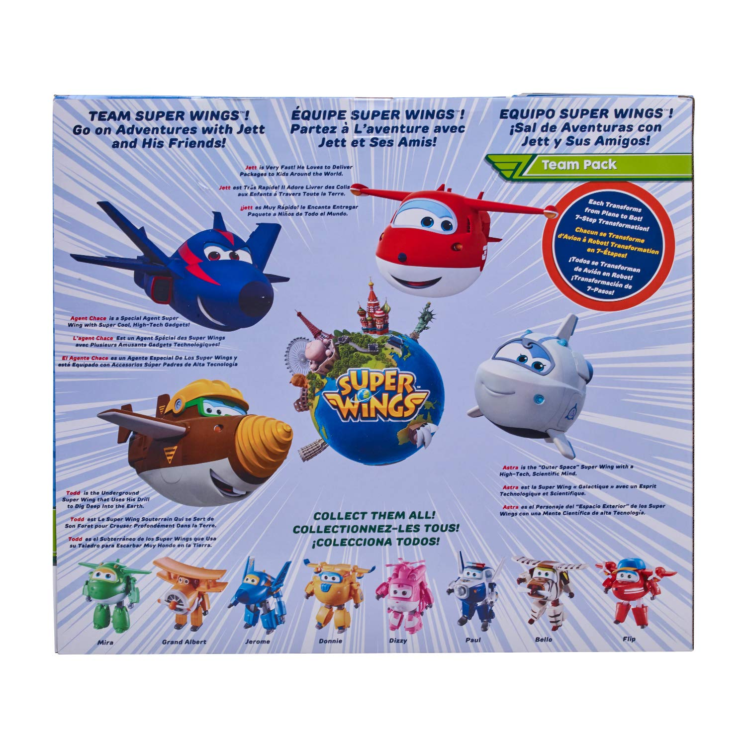 Super Wings US730204 Transforming Toy Figures, Jett Todd Astra & Agent Chase, Scale, 5''