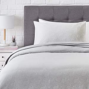 AmazonBasics Super-Soft Cotton Duvet Comforter Cover Set - Twin, Grey Paisley