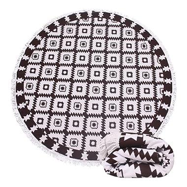 Genovega Thick Terry Round Circle Beach Towel Blanket Reserved Black White