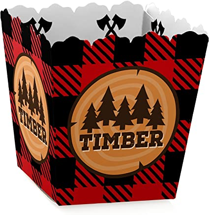 Lumberjack Lantern Buffalo Plaid Party Supplies Lumberjill Party Favors Channel The Flannel Favor Boxes Favor Boxes Set of 12
