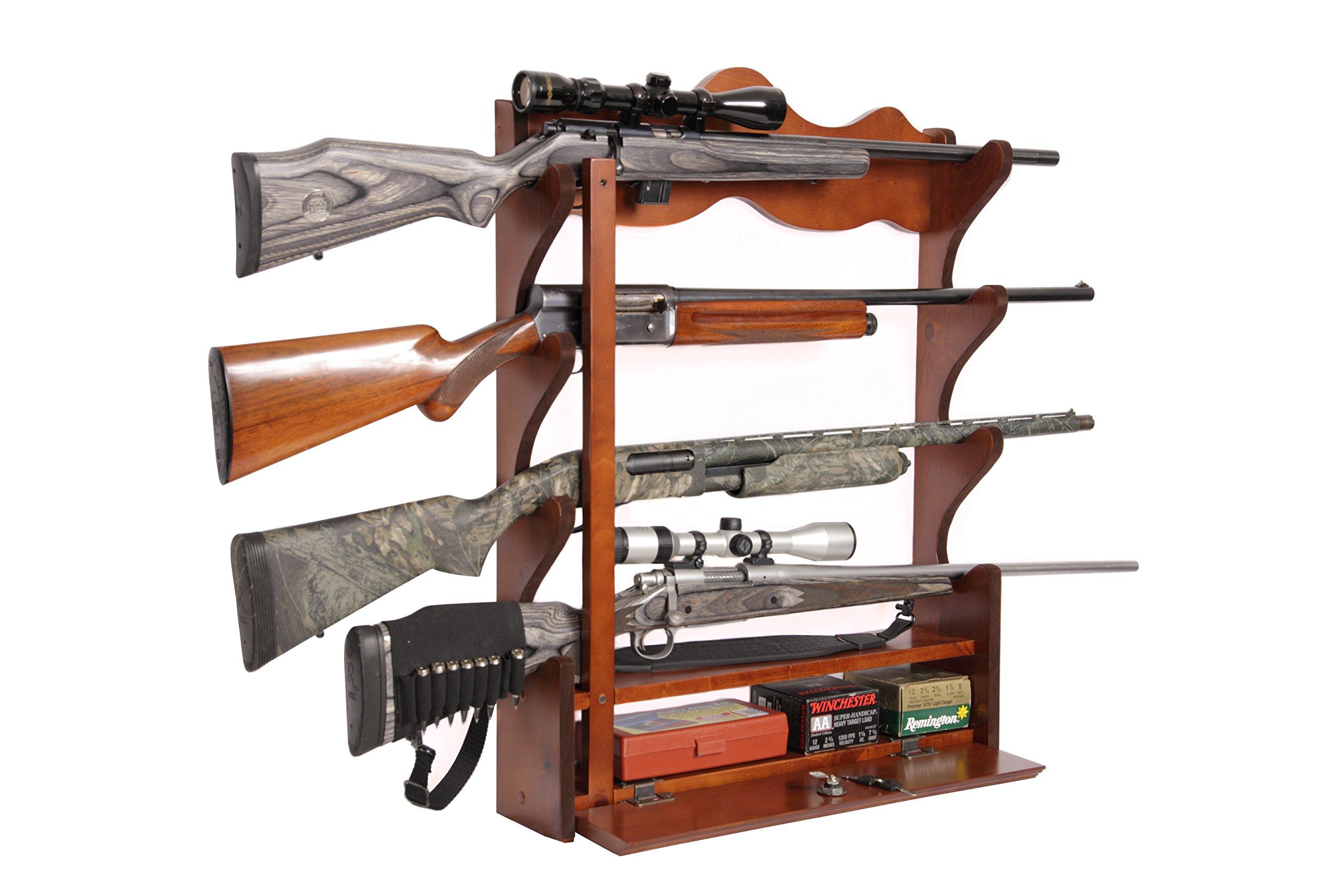 American Furniture Classics 840 4 Gun Wall Rack, Medium Brown by American Furniture Classics
