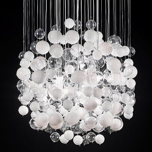 Design Hängeleuchte weiß Pendelleuchte Hängelampe Leuchte Glas Pendellampe Lampe