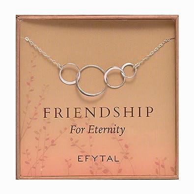 EFYTAL Amistad collar de plata de ley de cuatro amigos ...