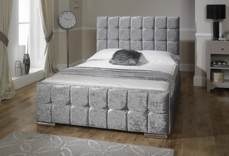 LayLowBeds Luxus Nevada Crushed Gepolsterten Bett mit Stauraum Samt ...