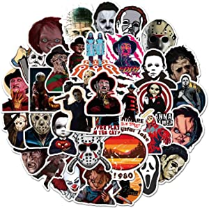 50 Pcs Halloween Horror Film Theme Stickers, Vinyl Waterproof Hydro Flasks Laptop Decal Stickers, Ideal Gift for Teens Kids Adults